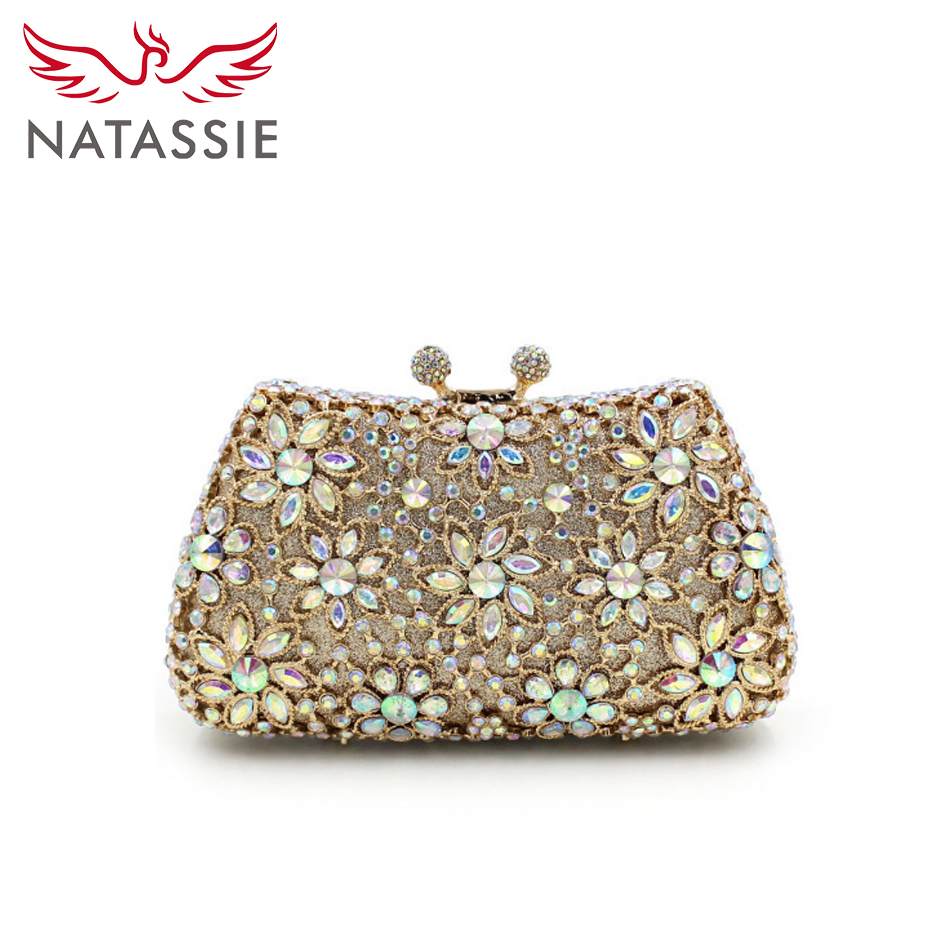 ФОТО NATASSIE Casual Clutch Purse Crystal Evening Bags Women Wedding Party High Quality Socialite Floral Handbags With Chain