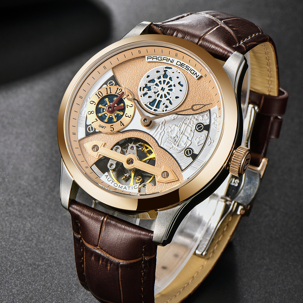 Mens Automatic Mechanical Wristwatch PAGANI Design Top Luxury Brand Men's Watches Waterproof Leather Band Steel Wheel Dial Watch