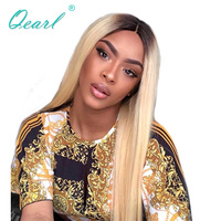 Qearl Hair Lace Front Wig 1B#/613# Ombre Color Blonde Middle parting Lace Wigs Remy Indian hair Wig Straight For White Women