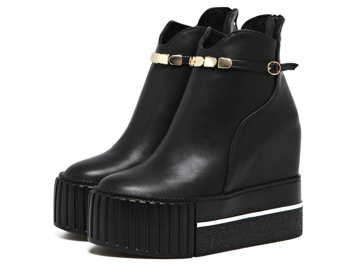ФОТО 2016 New Wedges Women Boots Fashion PU Leather Buckle Platform Ankle Boots High Heels Autumn Winter Shoes For Women New Black