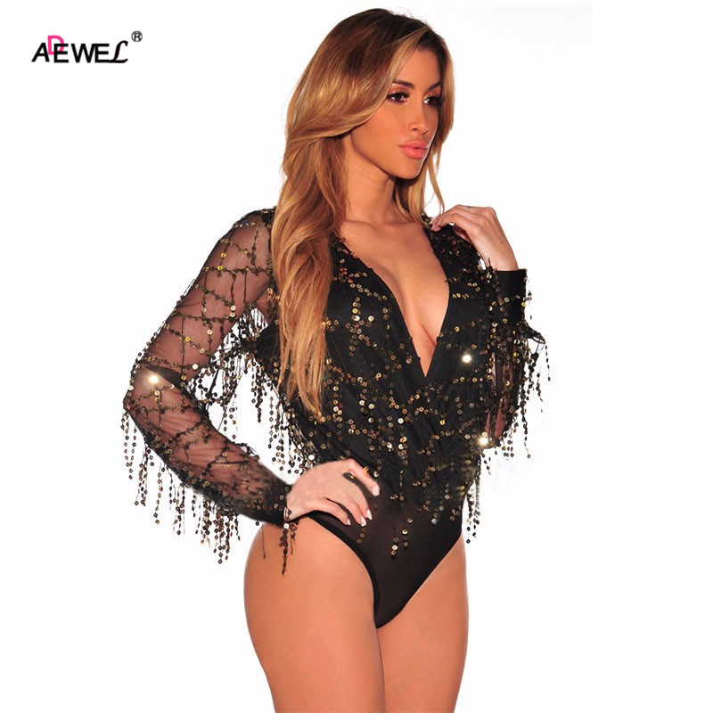 ADEWEL Black Flowing Sequins Long Sleeves Party Bodysuit Women New Bodycon  Jumpsuit Combinaison Femme Rompers Womens Jumpsuit 151b1f9f8