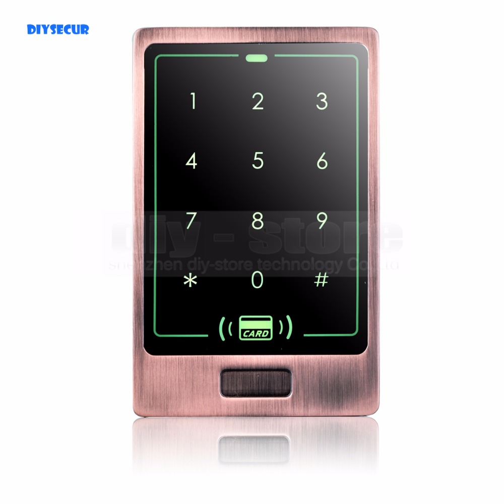 DIYSECUR New Touch Button 125KHz Rfid Card Reader Door Access Controller System Password Keypad C20 diysecur lcd 125khz rfid keypad password id card reader door access controller 10 free id key tag b100