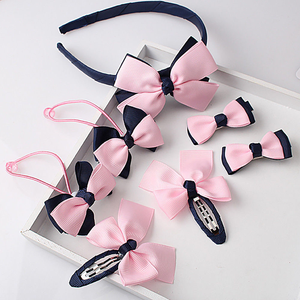 1set=7pcs Cute Children Hair Accessories Hairband Hairpins Scrunchies Baby Girls Lovely Bow Headwear Kids Hair Clip Headband