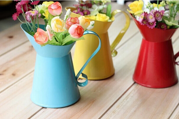 Wonderful Metal Flower Vases Home Decoration Home Flower Pots Planters Vintage Finish  Barrel Coffee Bucket With Handle Wedding Decor ADD In Vases From Home U0026  Garden ...