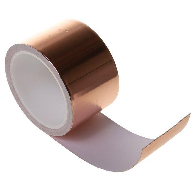 5 PCS of (Single Conductive Self Adhesive EMI Copper Foil Shielding Tape Guitar Slug and Snail Barrier - 6CM*10M Rose gold) цена и фото