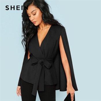 SHEIN Workwear Black Deep V Neck Surplice Neck Tie Waist Cloak Sleeve Cape Coat 2018 Streetwear Modern Lady Outerwear Coat New