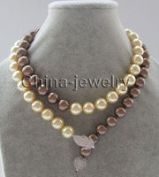 Wholesale price 16new ^^^^32 12mm perfect round coffee & golden south sea shell pearl necklace
