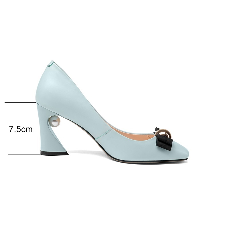 ZVQ Genuine cow Leather Mary Janes pumps elegant Spring Autumn high heels large size Butterfly-knot Square Toe Pearl woman shoes