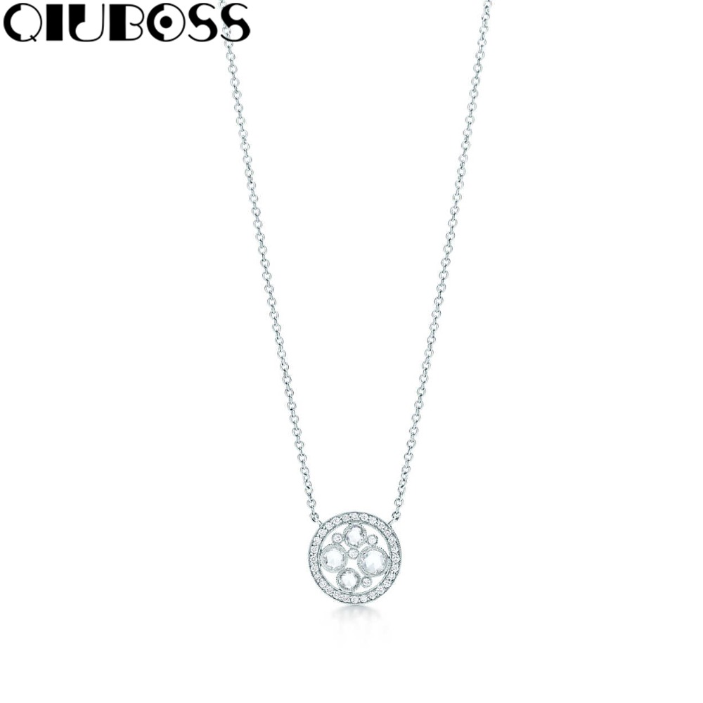 цены QIUBOSS S925 TiffanySilver Fashion woman Round Pendant 925 Sterling Silver Pendant Clavicle Ms. Clavicle Necklace