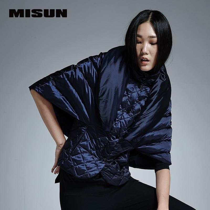 Misun 2016 vinobraní plášť designu krátké dolní kabát faux dva kus pončo dolů srst ženský