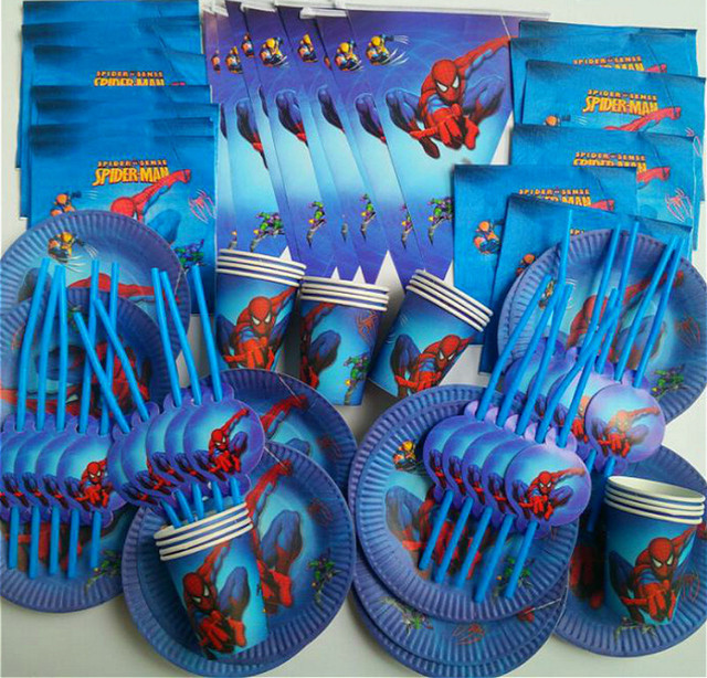 90pcs Super Hero Spiderman Disposable Tableware set Cups Paper plate Napkin Straws For 20 Kids Girl Birthday Party supplies