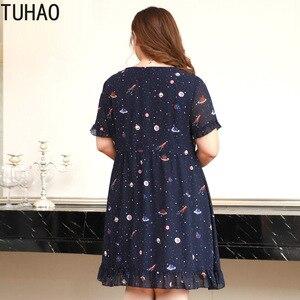 Image 3 - TUHAO nadruk w stylu Vintage Ruffles kobiety sukienka Plus rozmiar 10XL 9XL 8XL eleganckie granatowe biuro damskie sukienki letnia sukienka duże rozmiary odzież