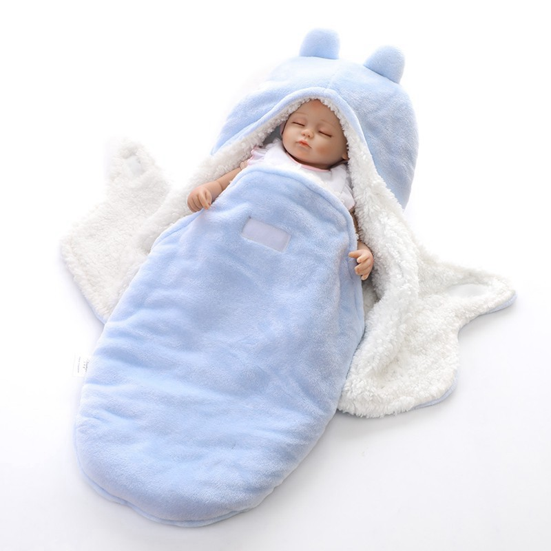 MOTOHOOD Winter New Baby Blankets Thicken Double Layer Coral Fleece Infant Swaddle Wrap Newborn Baby Bedding Blanket 0-12m (1)
