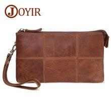 цена JOYIR Genuine Leather Men Business Clutch Wallets Cow Leather Long Purse Wallet  Multi-function Phone Bag Male Casual Handy Bag онлайн в 2017 году