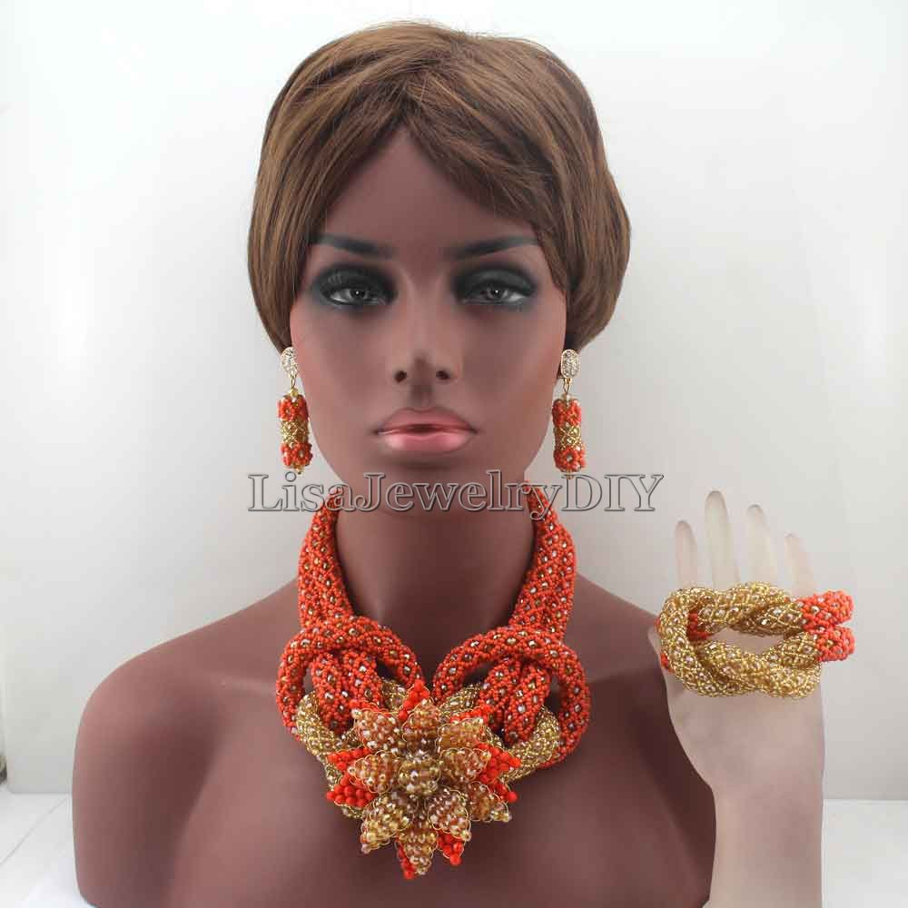2019 New Coral Plated Bridal Jewelry Set Chunky Flower Nigerian Wedding African Beads Indian Costume Free Shipping HD8052