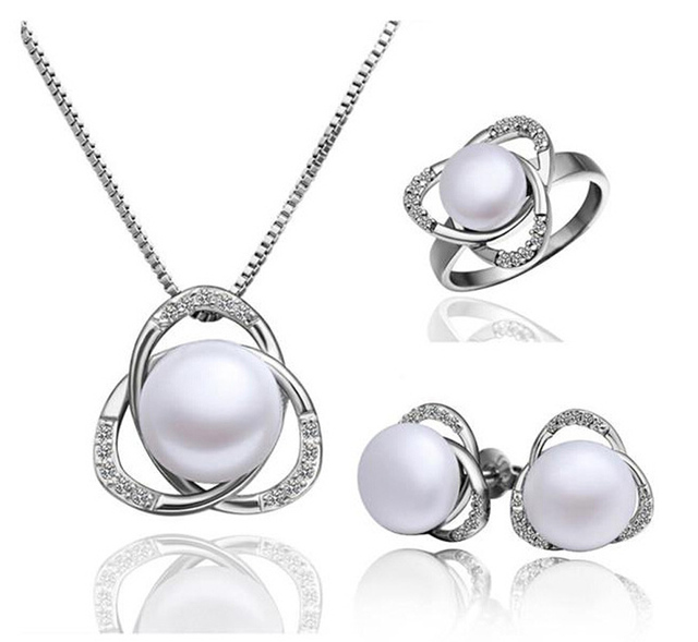 Fashion austria crystal women freshwater Pearl triangle pendant necklace/earrings/rings Jewelry Sets 1