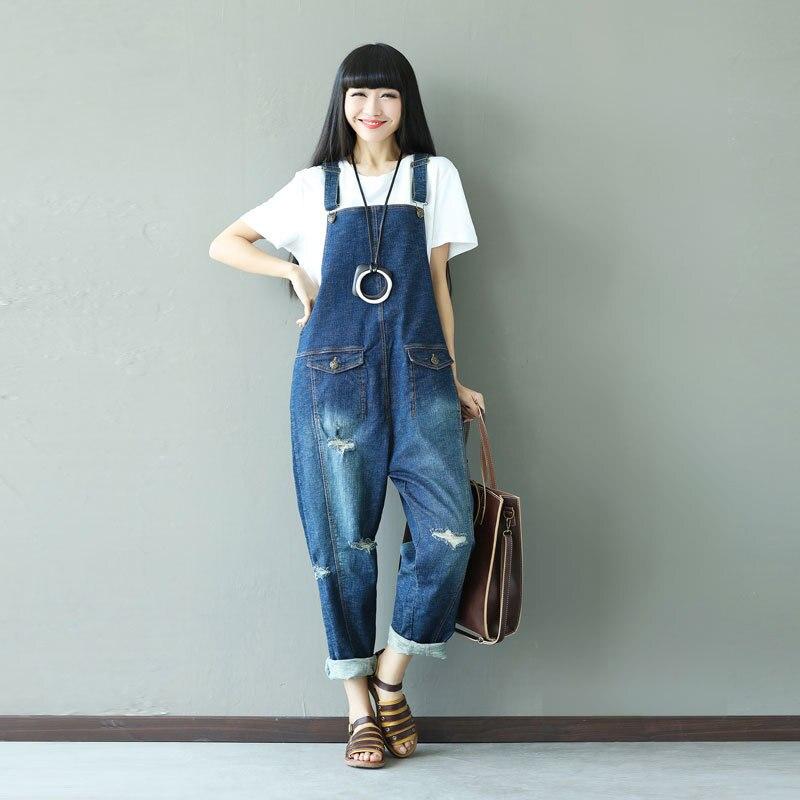 Mujer Boho Deportivos Casual Retro Blue Trajes Pantalones Las Mujeres Recortada Vaqueros Vintage Gruesos Para nFYHn
