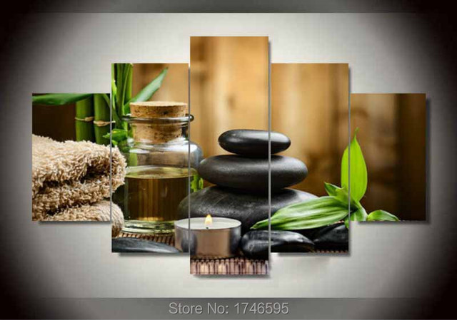 5pcs Modern Home Decor Living Room Spa Stone Bamboo Candles Wall Art Picture Printed Oil