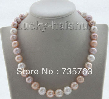 xiuli 00176 12mm natural round white pink purple pearls necklace Platinum Plated
