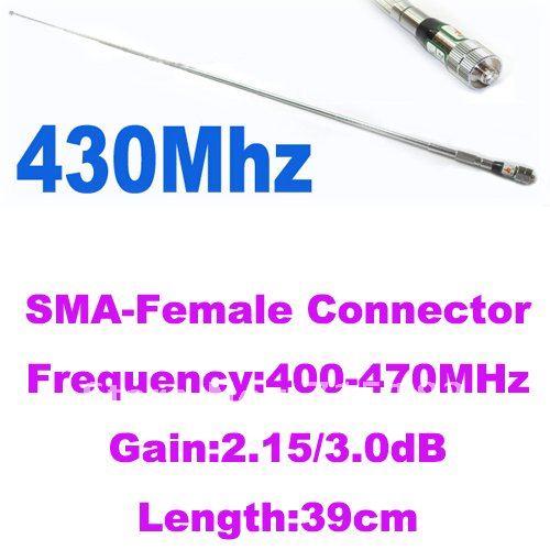SMA-Female UHF:400-470MHz Telescopic Antenna For Two-way Radios (SMA-Female Connector)