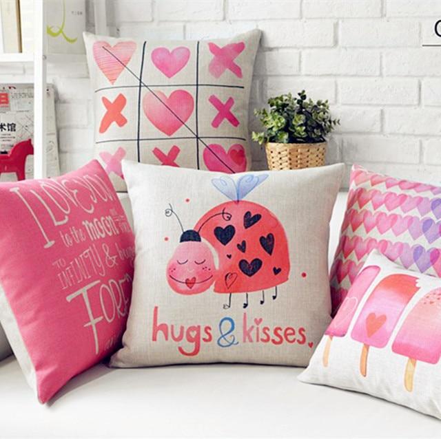 Valentineu0027s Day Present Modern Pink Ladybug Kisses Chair Pillows Heart Home  Decor Cushion Decorative Throw Pillows