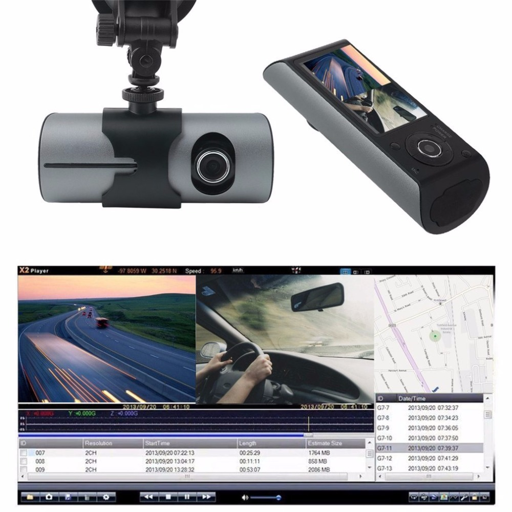 2.7Inch HD TFT LCD Vehicle Car DVR Video Recorder Dash Cam G-Sensor GPS Dual Len Camera Recorder 140 degree View Angle bigbigroad for nissan qashqai car wifi dvr driving video recorder novatek 96655 car black box g sensor dash cam night vision