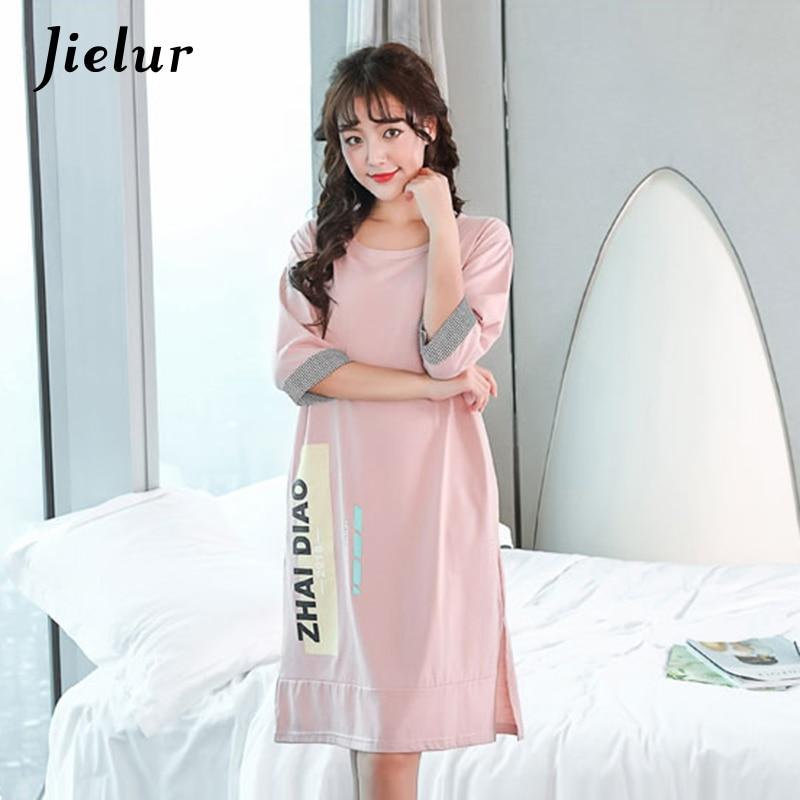Jielur 2019 Summer Half Sleeve Nightgowns Letter Printed Sleepshirts Korean Gecelik Nightdress Casual Women's Outwear  Dropship