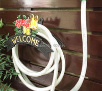 Decorative Garden Cast Iron Hosepipe Pipe Hose Hanger WELCOME Butterfly Flower NEW Wall Mounted Hose Holder