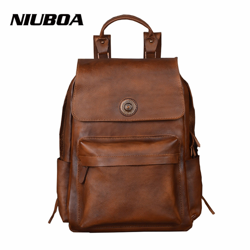 NIUBOA Men Bags Genuine Leather Men's Backpack Vintage Male Natural Leather Laptop Computer Bag Waterproof Travel School Bags male bag vintage cow leather school bags for teenagers travel laptop bag casual shoulder bags men backpacksreal leather backpack