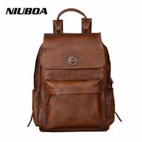 NIUBOA Men Bags Genuine Leather Men's Backpack Vintage Male Natural Leather Laptop Computer Bag Waterproof Travel School Bags
