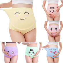 High Waist Belly Support Pregnant Women Underwear Cartoon Face Pattern Panties Breathable Cotton Adjustable Maternity