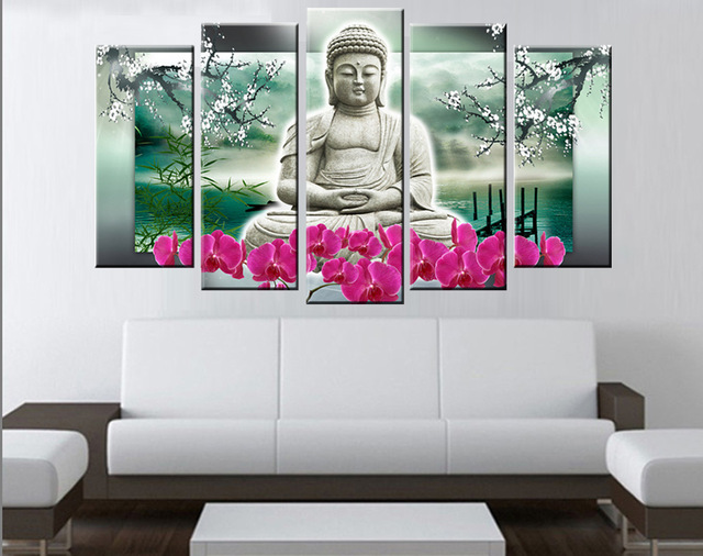 5 Panels Buddha Wall Art Modern Buddha Painting Contemporary Art ...