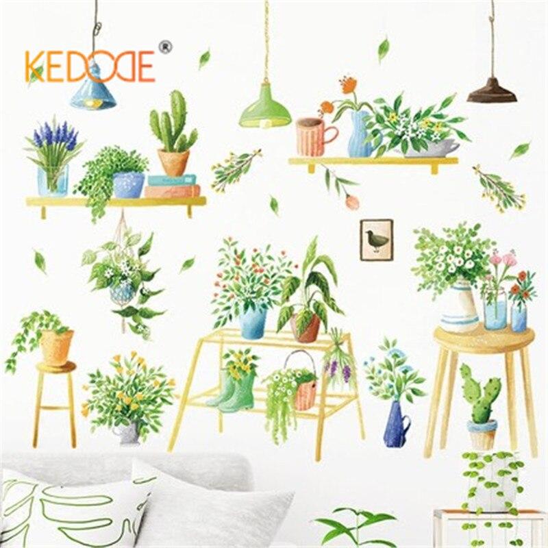 KEDODE стены стикеры теплые спальня стекло наклейки Сад горшке зеленый растения цветы Nordic пастырской Искусство украшения стены бумаги