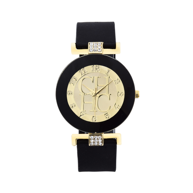 New Fashion Brand Black Geneva Casual Quartz Watch Women Crystal Silicone women'