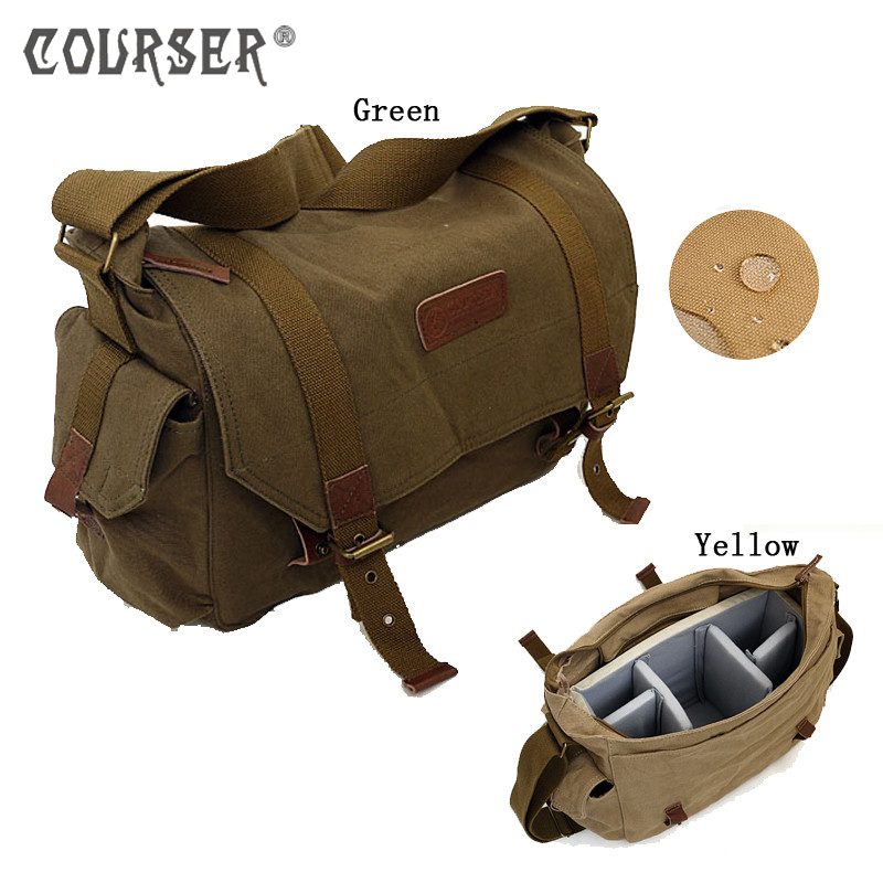 COURSERR Canvas Camera Photo Bag Waterproof Shoulder Messenger Bag Canvas Shoulder Bag with Paitition Padded for DSLR SLR Camera lowepro protactic 450 aw backpack rain professional slr for two cameras bag shoulder camera bag dslr 15 inch laptop