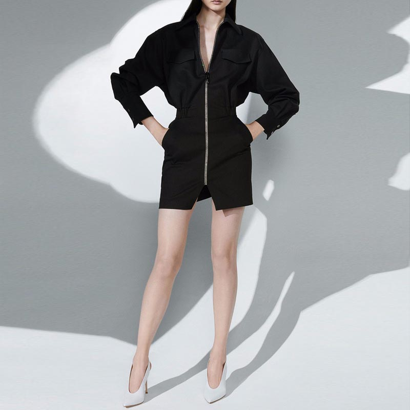 Robe Cou 2019 Sexy Gosexy Femmes Mini Entaillé Complet Noir Mode Empire Manches Lady Office Poches Black Nouvelles Avec De zdOxwOA