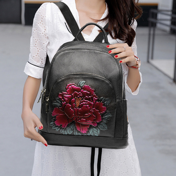 National Style Backpack for Women Soft Genuine Leather Top Leather Flower Pattern 2019 Backpacks Ladies Fashion Back Pack Bags