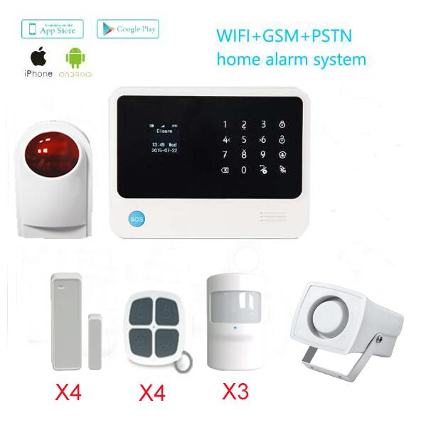 WIFI GSM Alarm Systems IOS/Android APP management 433MHz outdoor sirens  House Security Alarm System with PIR motion detector 1 set new model wifi and gsm dual network support ios andriod app control alarm system sms wireless pir motion detector