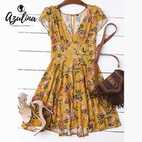 AZULINA Flower Floral Print Summer Dress Women V Neck Cut Out Mini Beach Dress Casual Short