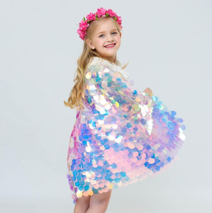 2019 Moda Halloween La Piccola Coda Della Sirena Costume Bambino Colorato Paillettes Mantello Ragazze Di Natale Fancy Fata Principessa Ariel Vestito Di Paillette