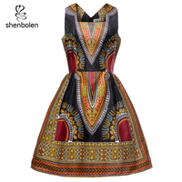African Dresses for women Fashion Dashiki Print Tradition African Cotton Cloth Sleeveless Dress 100% Cotton Wax Clothes