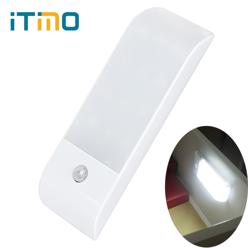 iTimo Closet Light PIR USB Rechargeble LED Cabinet Night Lighting Motion Sensor Night Light Motion Activated Lamp Wireless dc 5v pir auto body motion sensor led night light usb powered cabinet closet wall lamp intelligent bedroom kitchen home lighting