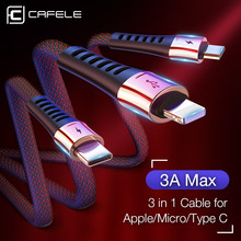 Cafele 3 in 1 USB Cable for iPhone Micro Type C USB Charging Cable for Huawei Xiaomi Samsung Zinc Alloy 3A Max Cable 130cm