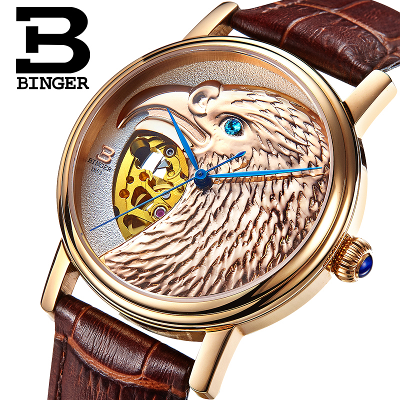 Switzerland BINGER watches men Japan N Automatic Movemt hawk sapphire genuine leather