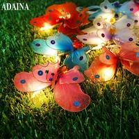ADAINA De Noël Led Extérieur Solaire Jeu de Lumières LED Multi Couleur Fiber Optique Papillon Lumière Éclairage Décoratif pour La Maison Jardin
