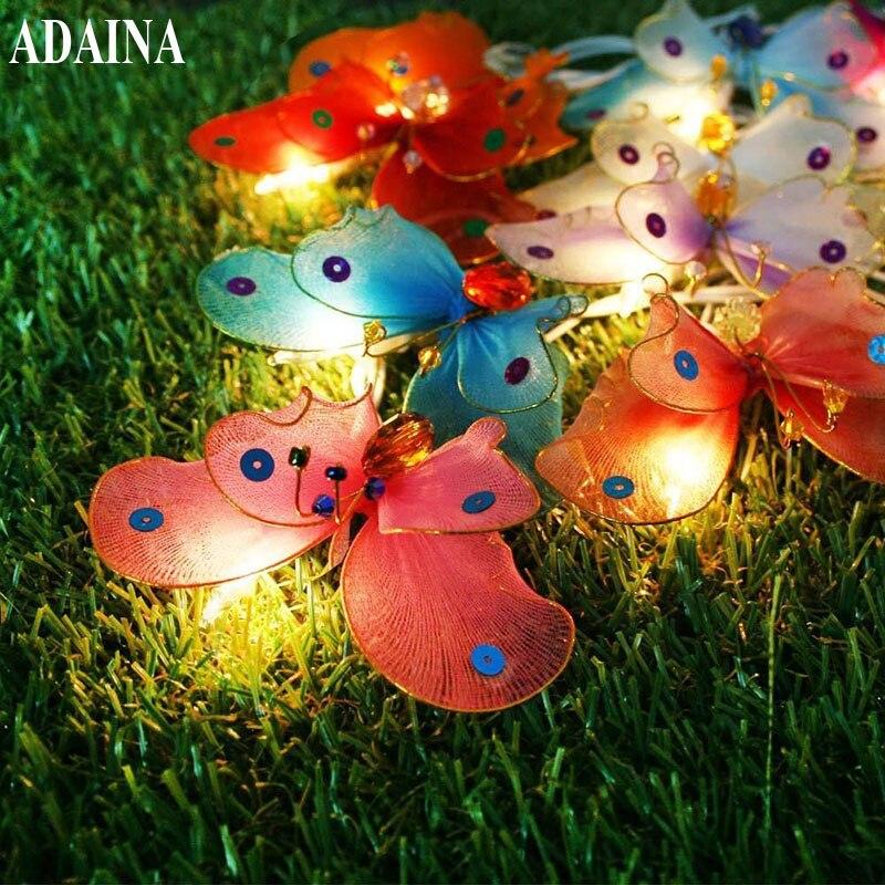 ADAINA Christmas Led Outdoor Solar String Lights LED Multi Color Fiber Optic Butterfly Light Decorative Lighting for Home Garden