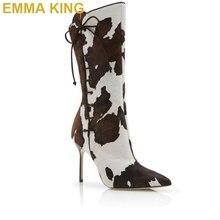 Г. Новые брендовые осенне-зимние ботинки с принтом коровы Женские пикантные ботинки до середины икры с острым носком на высоком каблуке со шнуровкой модная женская обувь