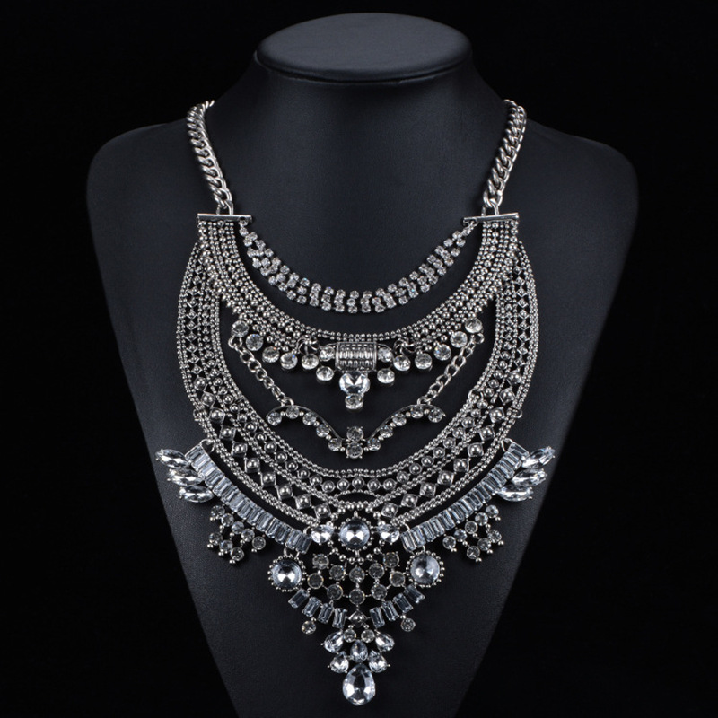 N689 Exaggeration Statement Necklaces & Pendants Vintage Crystal Choker Gold Silver Big Necklace Women Jewellery Wholesal