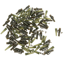 50Pcs Fishing Terminal Tackle Carp Safety Lead Clips Carp Fishing Tackle Tool Safety Lead Clips with Pins +Tail Rubber Tubes