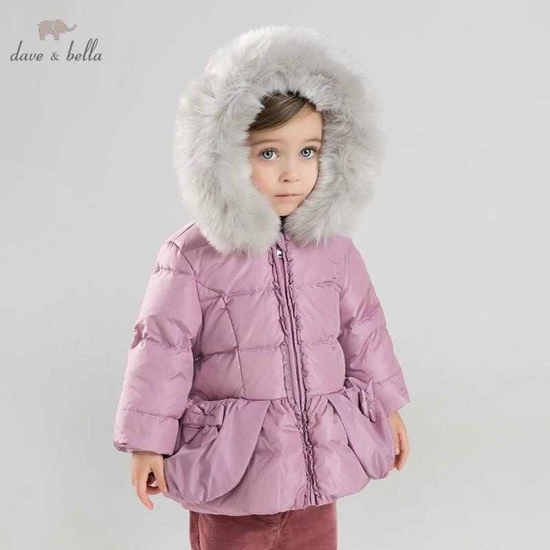 DB8965 dave bella baby girls winter Down jacket children 90% white duck down outerwear fashion purple coat цена 2017